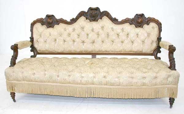 6: English Victorian Rococo Carved Walnut Sofa