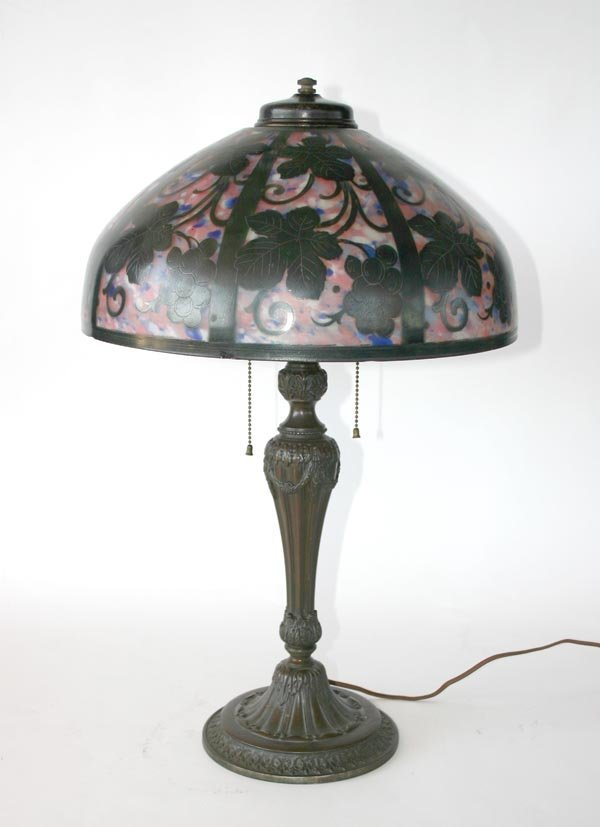 7: Acid-Etched & Obverse Painted Lamp Attr. Pittsburgh