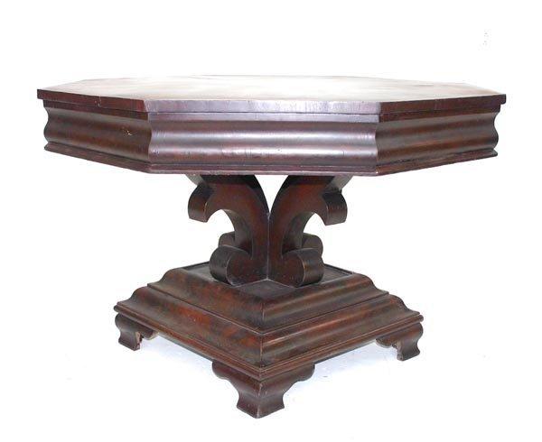 8: American Empire Mahogany Center Table. Attr. Meeks