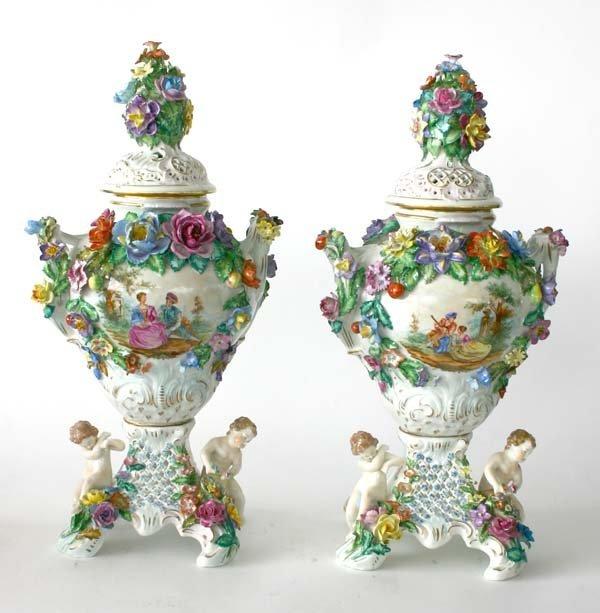9: Pair Antique Dresden Porcelain Lidded Urns