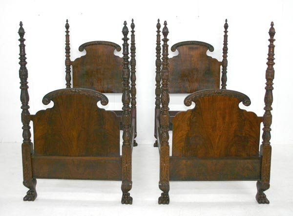 10: Pair Federal Revival Mahogany Acanthus Twin Beds