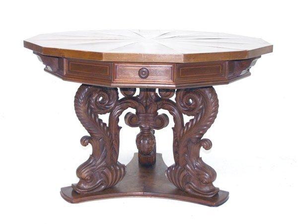 11: Italian Victorian Renaissance Walnut Center Table