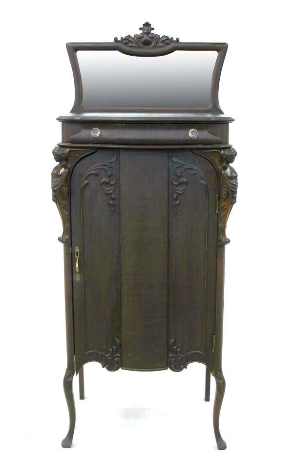 14: Victorian Mahogany Art Nouveau Music Cabinet