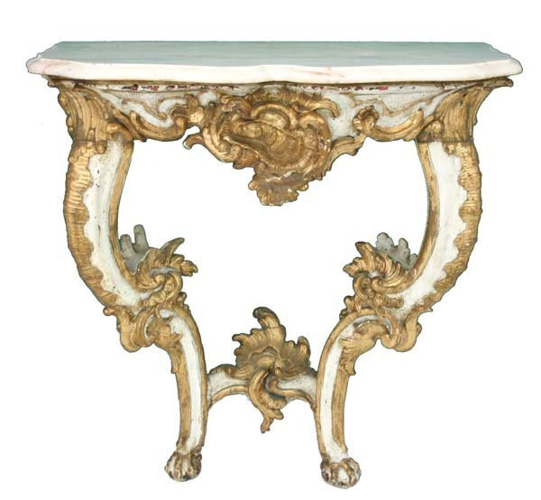 15: Period Louis XV Rococo Carved Marble Top Console