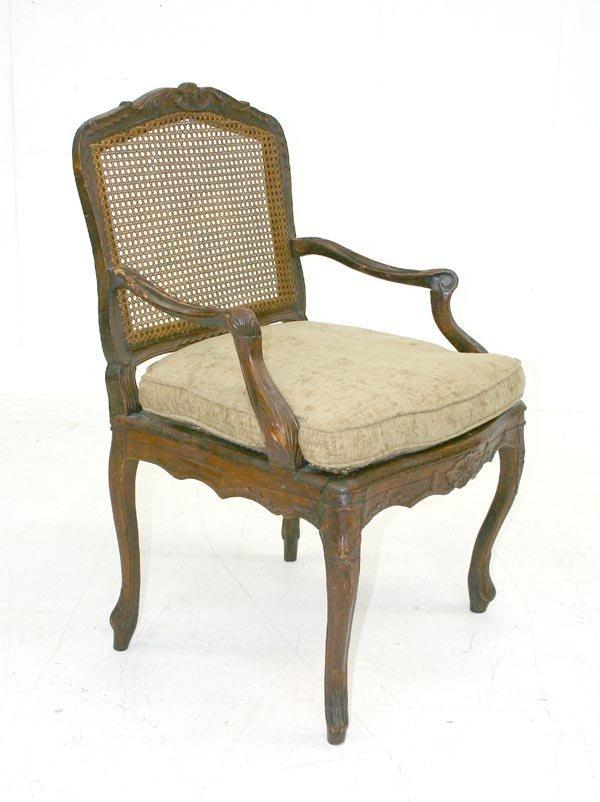 16: Period French Regency Walnut Carved Open Armchair