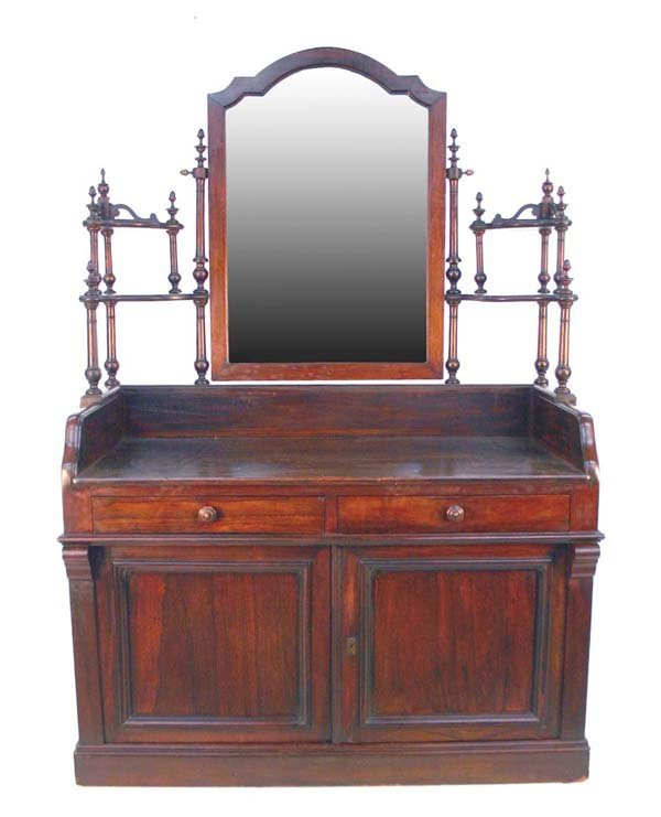 17: A Louis Phillip Walnut and Rosewood Vanity