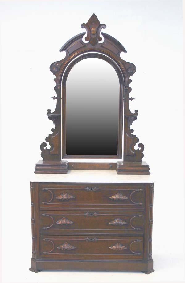 19: American Renaissance Revival Oak Marble Top Dresser