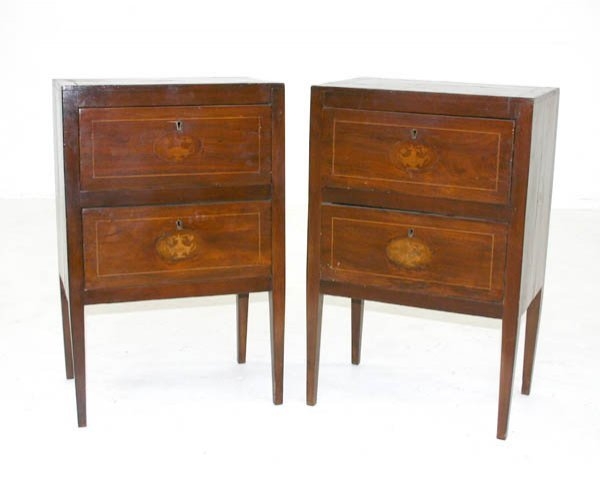 21: Pair Period Italian Inlaid Commodes. Circa 1790