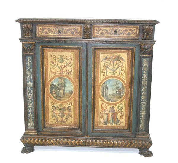 96: 19th c Italian Paint Decorated Credenza. Circa 1870