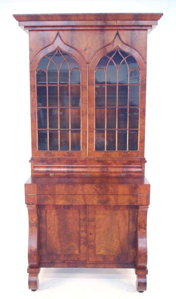 138: American Classical Walnut Secretary Bookcase