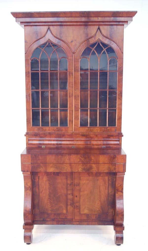 138: American Classical Walnut Secretary Bookcase