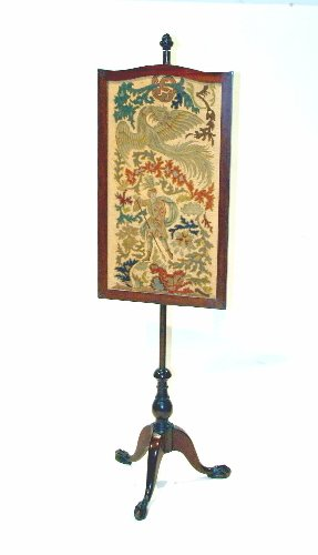 "3: Chippendale Pole Screen with Needlepoint, 66""H."