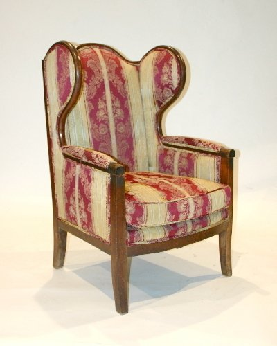 6: French Directoire Fruitwood Wing Chair, Circa 1815