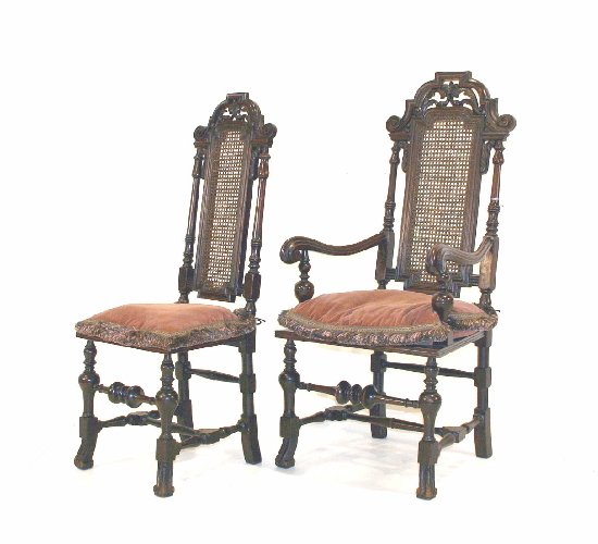 8: William & Mary Style Walnut King & Queen's Chairs, C