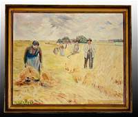 "Oil on Canvas German Painting-""HARVESTERS"""