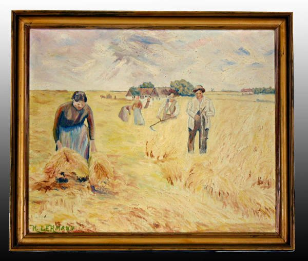 "9A: Oil on Canvas German Painting-""HARVESTERS"""