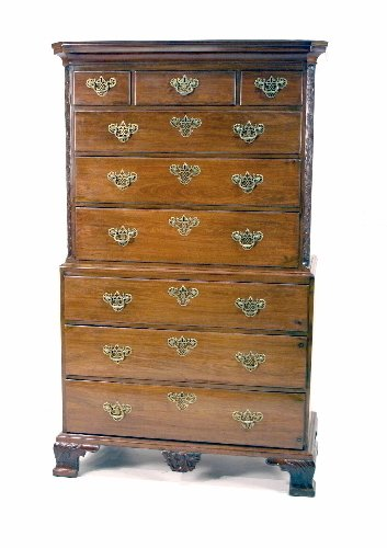 11: English Chippendale Chest on Chest. Carved ogee fee