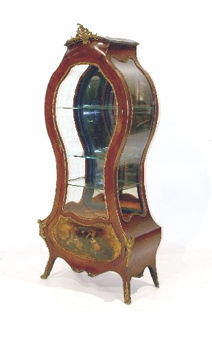 12: French Louis XV Style Curio Cabinet. Hour glass sha
