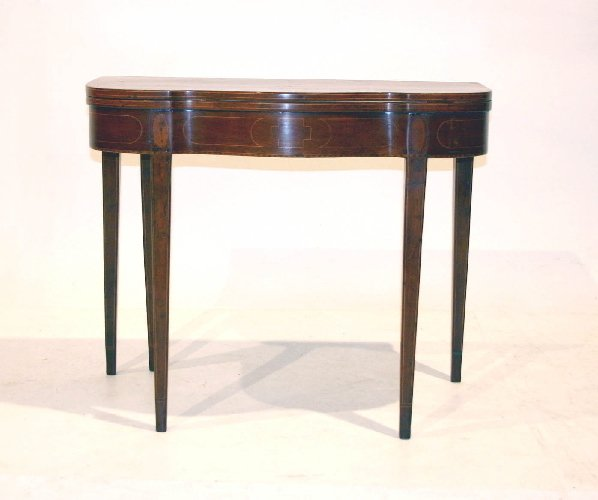 13: Federal Cherry Game Table with maple inlay, Circa 1
