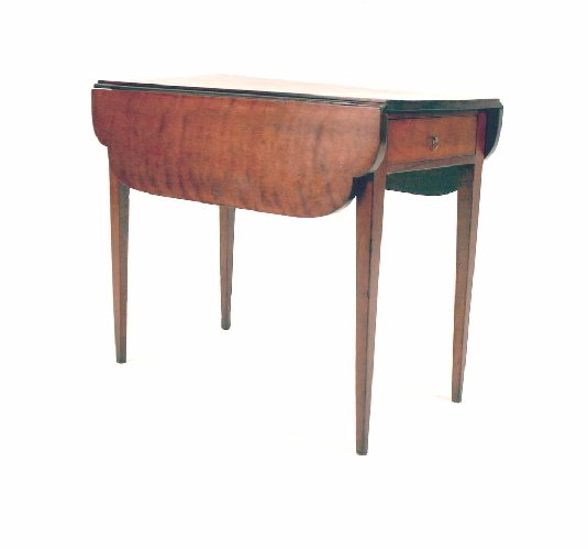14: Federal Cherry Pembroke Table with Ovolu Shaped Lea