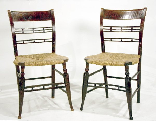 17: Pair New England Sheraton Tiger Maple Rush Seated C