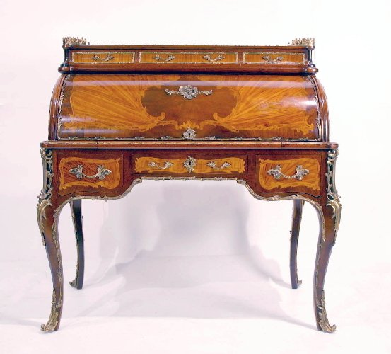 18: French Louis XV Style Cylinder Roll Desk. Satinwood