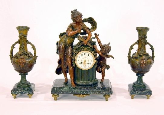 4A: Three Piece Clock Set on Marble
