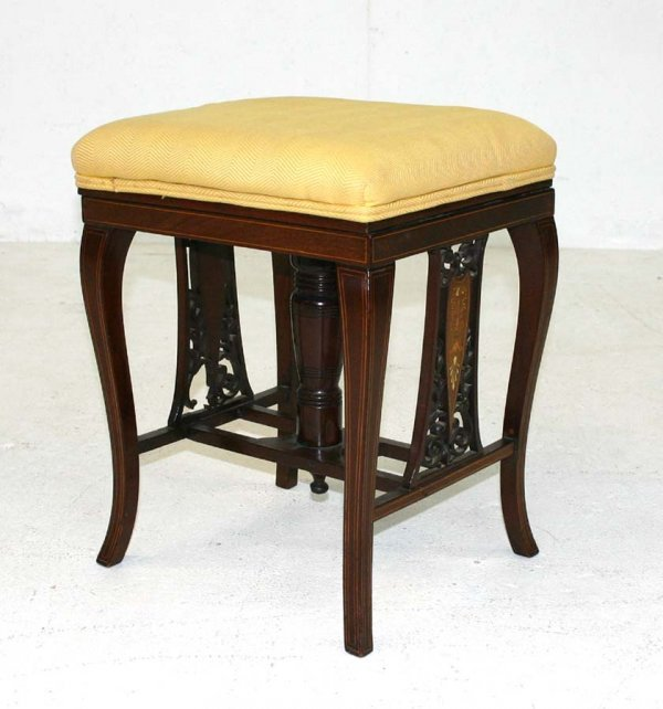 3: Mahogany Inlaid & Carved Art Nouveau Piano Stool wit