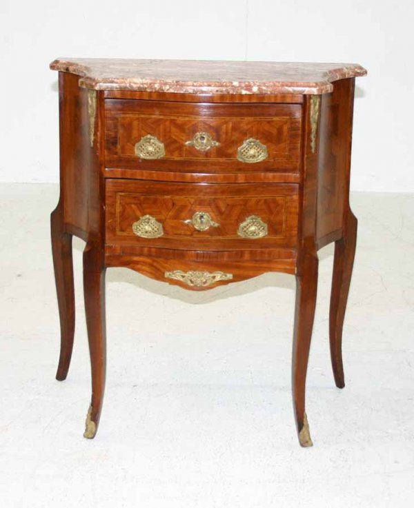 4A: French Louis XV Style Inlaid Marble Top Commode. Ci