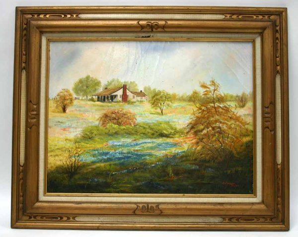 5A: Oil on Canvas Landscape Painting of Old Homeplace.