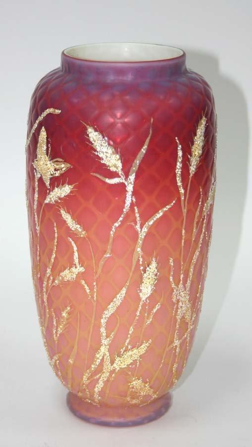 9: 19th c Thomas Webb Art Glass Vase with Applied Decor