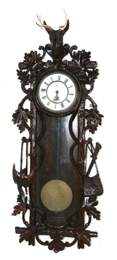 10: German Victorian Walnut Black Forest Wall Clock wit
