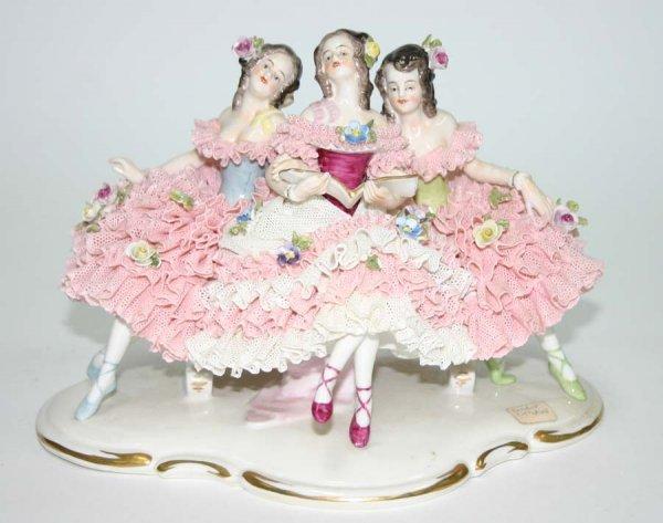 11: Dresden Porcelain Figural Grouping of Ballerinas. 9