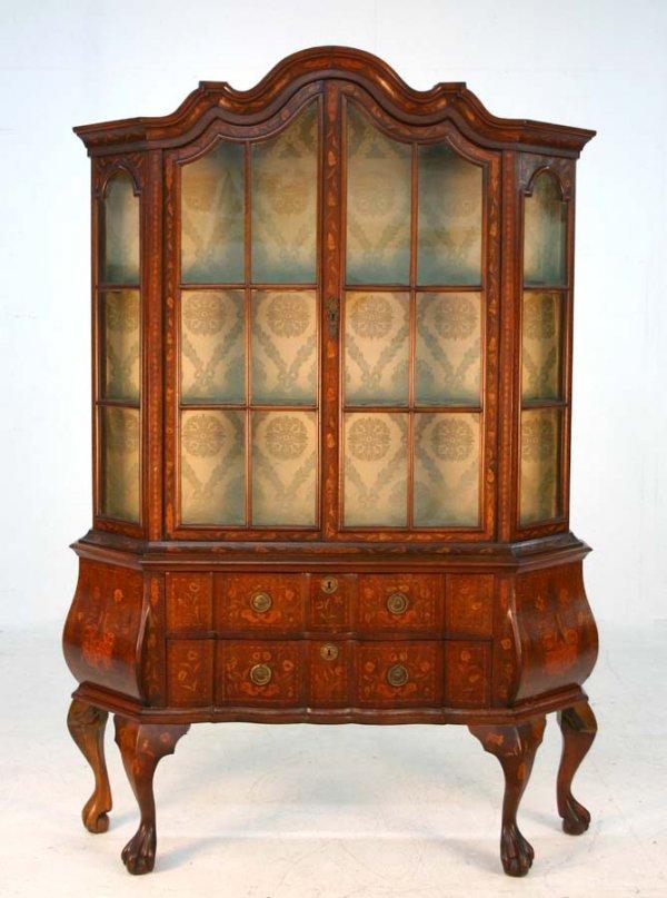 12: Dutch Walnut Inlaid Curio Cabinet. Bombay shaped wi