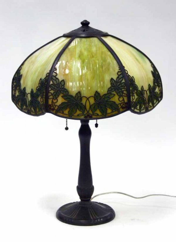 14A: Handel Lamp with Leaf and Berry Overlay with Obver