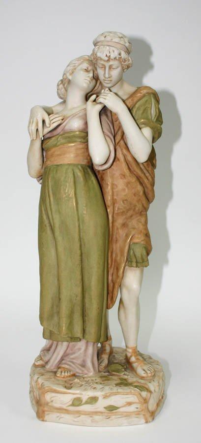 16: Royal Dux Porcalain Large Figurine of Roman Couple.
