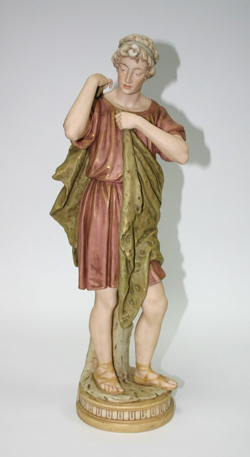 17: Royal Dux Porcalain Large Figurine of Roman Man. 21