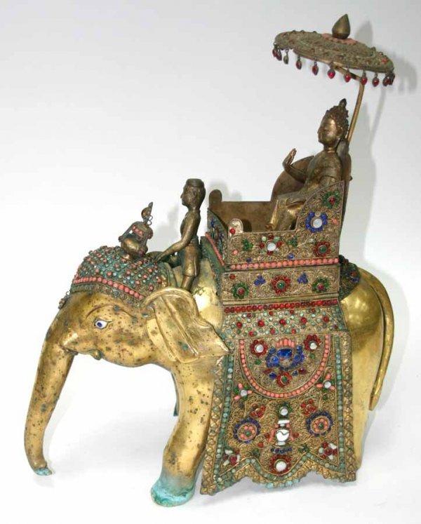 19: Antique Bronze & Cloissone Elephant with Oriental F