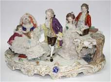 103 Large Dresden Porcelain Figural Group of Music Par