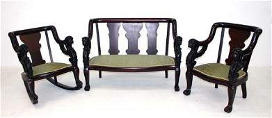 242 Three Piece Mahogany Griffin Carved Parlor Set Ci
