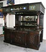 267 Custom Made Mahogany Carved Pub Bar