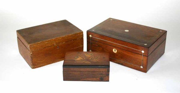 3: Three Antique Wooden Document Boxes