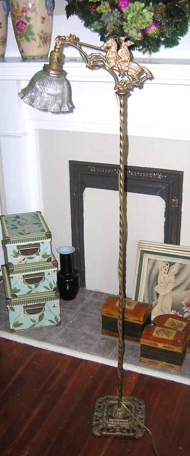 24: Brass Floor Lamp with Horseman Scene and Glass Shad