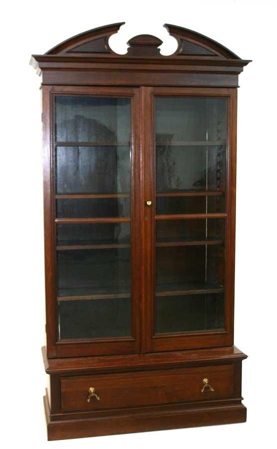 7: American Victorian Walnut 2-Door Bookcase