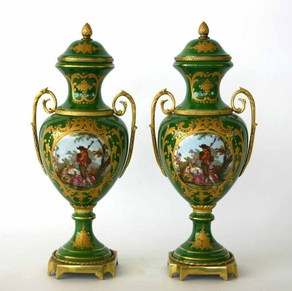 9: Pair French Porcelain Lidded Urns with Courting Scen