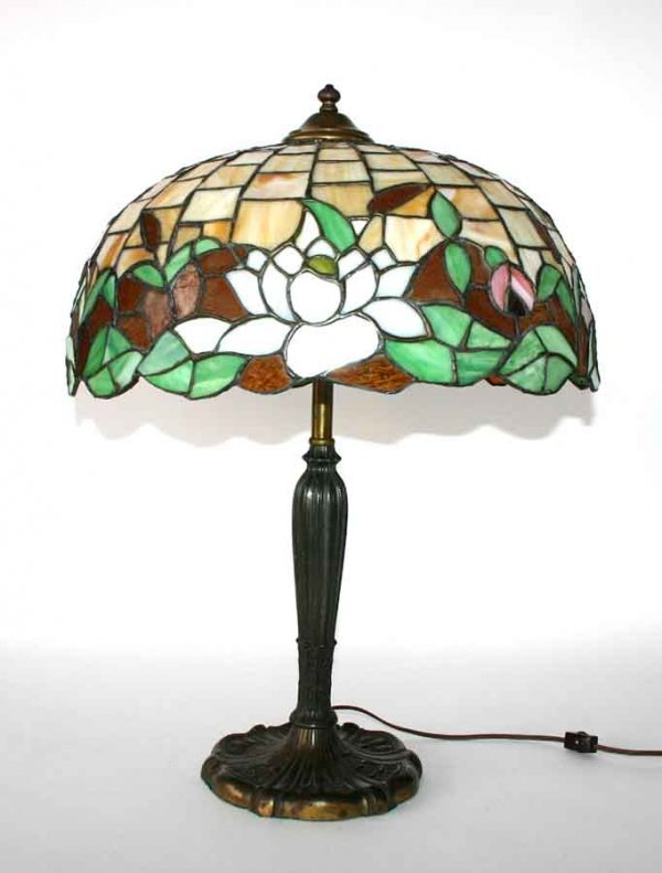 13: Signed Miller Leaded & Stained Glass Lamp