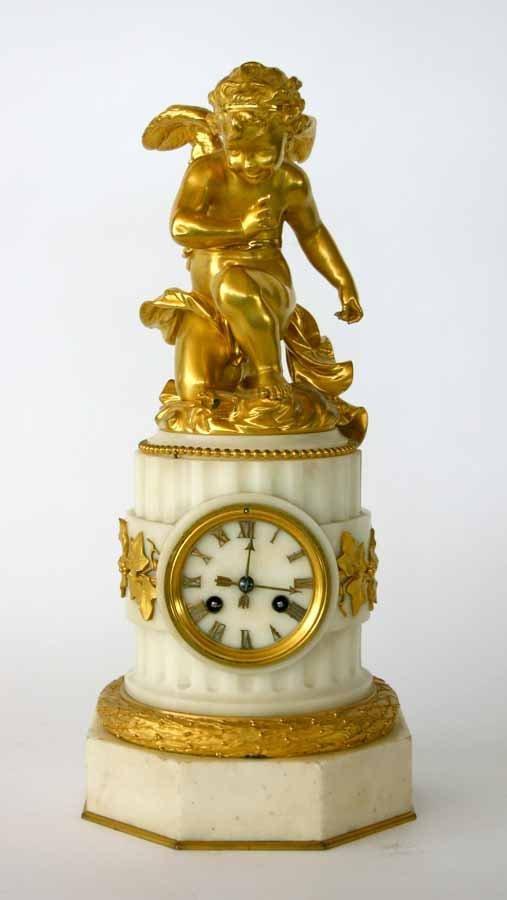 15: French Gilt Bronze Cherub Clock on Marble Base