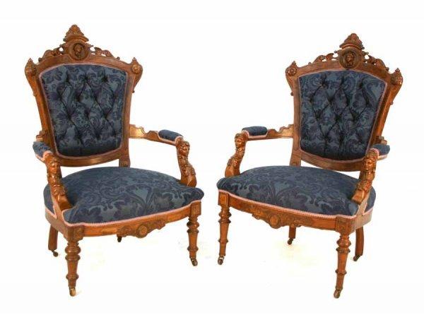 16: Pr American Walnut Renaissance Armchairs