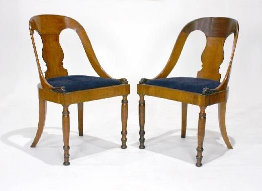 001: Pair German Biedermeier Chairs w/Dolphin Carvings