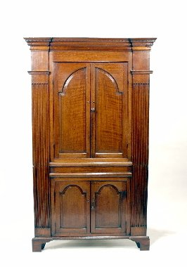 014: 18th C. English Oak Architectural Corner Cupboard